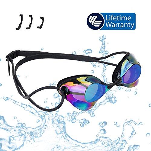 Swimming Goggles—Vetoky Mirrored Swim Goggle Anti Fog UV Protection No Leaking Comfortable...