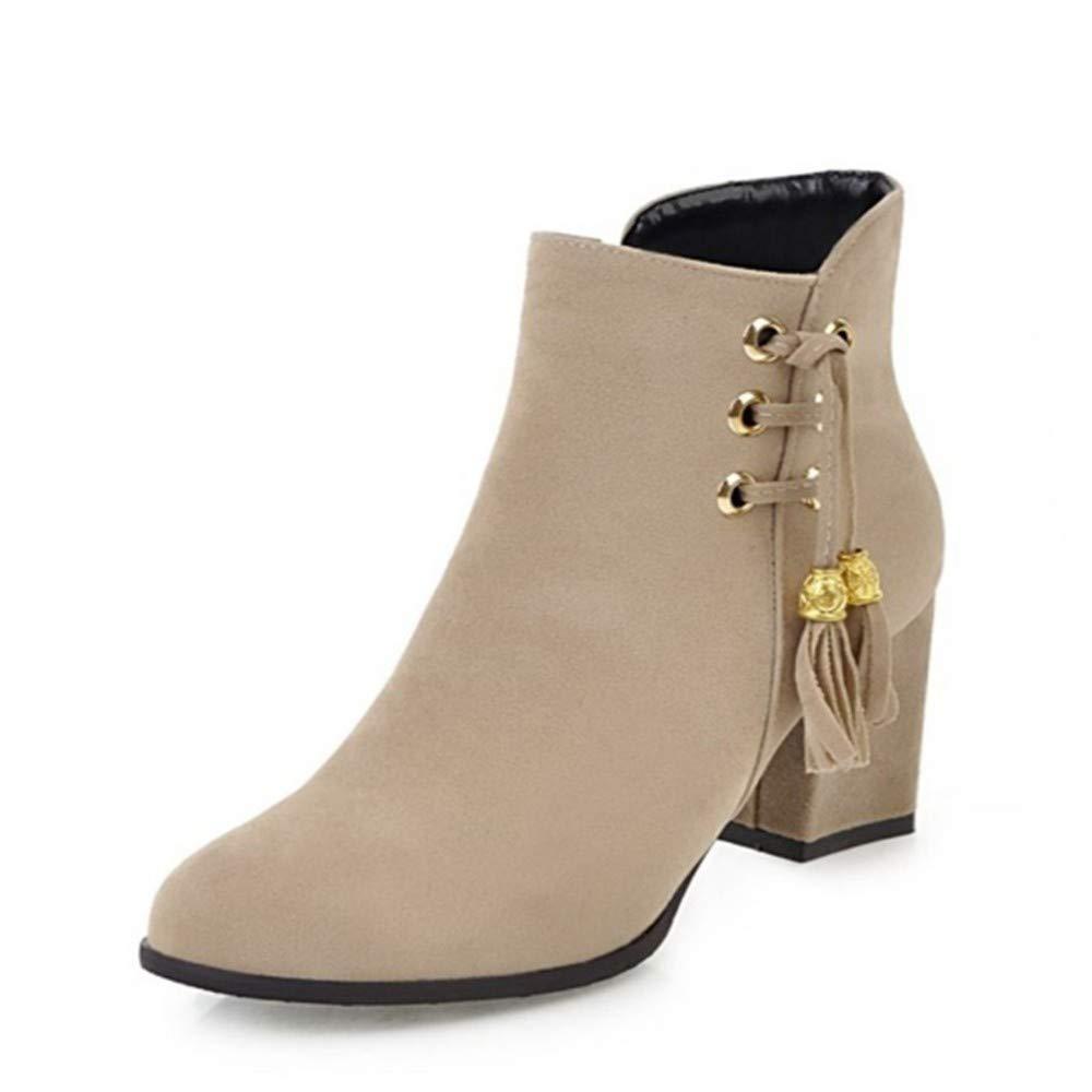 YSFU Stiefel Frauen Stiefelies Stiefel High Heel Damen Stiefelie Stiefelie Stiefelie Casual Herbst Winter Outdoor Niedriger Absatz 37f0bd