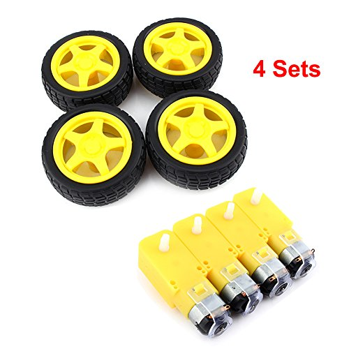Plastic Robot - 4 Robot Wheels Smart Car Robot Plastic Tire Wheel with DC 3-6v Gear Motor for Arduino DIY Robot (Pack of 4)