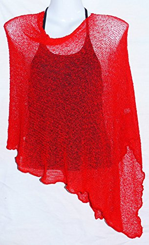 Taille ladies unique Pull Poncho Rouge Cache Femme Gilet coeur BSPq61