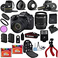 Canon 7D Camera with 18-55mm IS II Bundle with Deluxe Backpack + 3pc Filter Kit + Wide Angle + Telephoto + Extra Battery + 2pcs 16GB Memory Cards + 24pc Kit - International Version