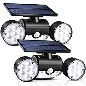 Outdoor Solar Lights, YUJENY 30 LED Dual Head Spotlights Waterproof Solar Poweredwith Wall Lights 360-Degree Rotatable Solar Motion Security Night Lights for Outdoor Pation Garden Deck(2 Pack)