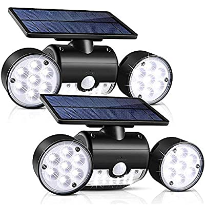 Solar Light Outdoor with Motion Sensor,YUJENY Solar Wall Light with Dual Head Spotlights 30 LED Waterproof 360-Degree Rotatable Solar Security Light Outdoor for Garden