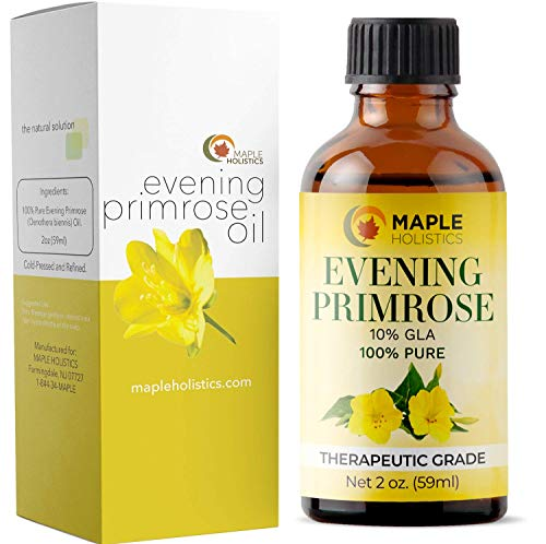 Pure Evening Primrose Oil for Face, Skin, Hair - Cold Pressed for Greater Efficacy - Great Gift for Mom - Moisturize Dry & Flaky Skin - Fights Aging & Free Radical Damage - Fully Guaranteed