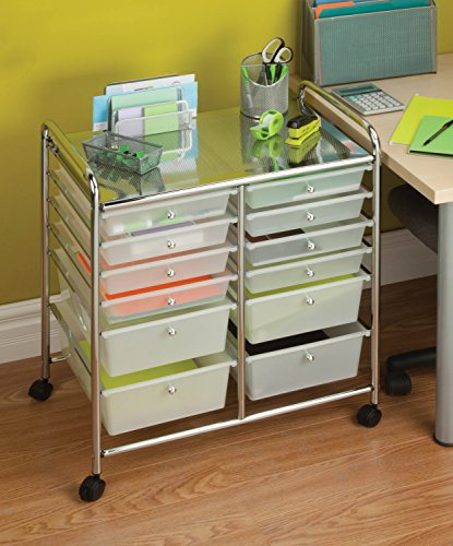 Honey-Can-Do CRT-01683 12 Drawer Chrome Studio Organizer Cart