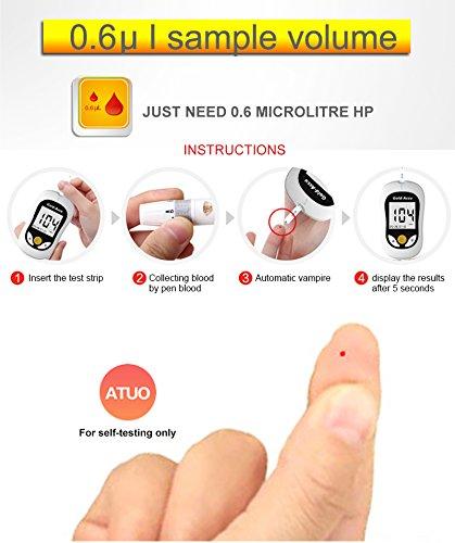 Diabetes Test Kit, Blood Glucose Meter with 50/100 Blood Glucos Test Strips 50/100 Free Lancets,Gold Electrode,5s Test time,Volume 0.8μL Blood (50 pcs Test) by Sinocare (Image #3)