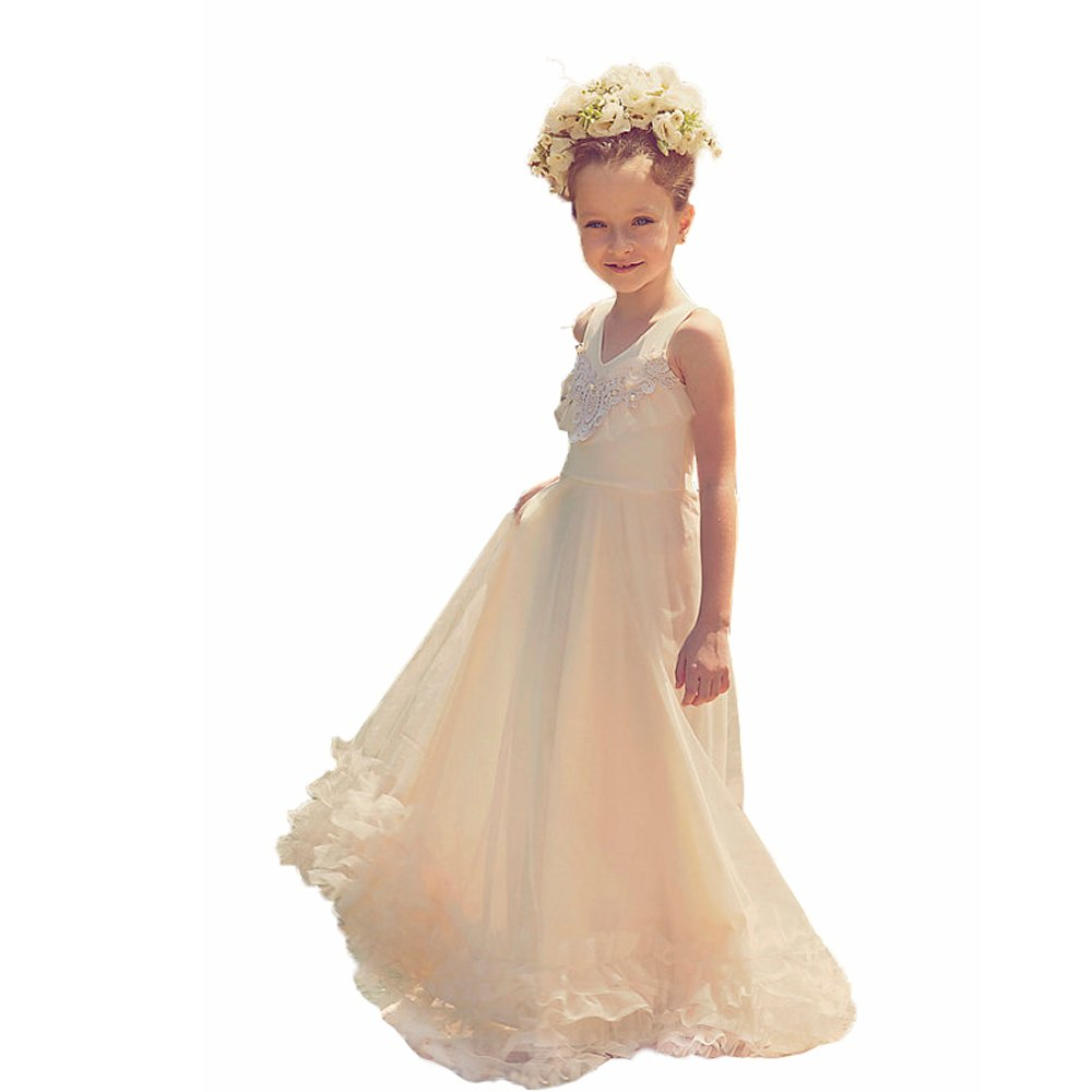 Newdeve V-neck Sleeveless A-line Champagne Flower Girls Gown