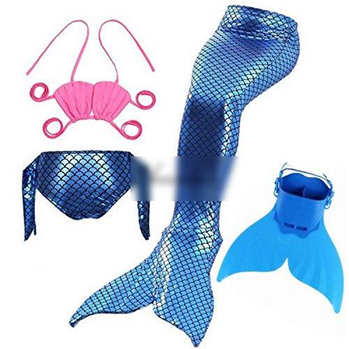 Kids Swimming Mermaid Tail with Monofin Swimsuit Costume CClothing,Style 2,6T Tail ()