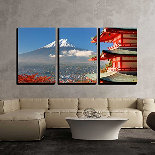Mt Fuji Viewed from Behind Chureito Pagoda x3 Panels