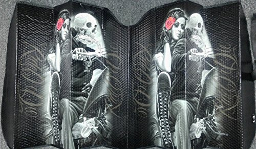 - DGA Day of Dead Ride or Die Lovers Block UV Rays Reflective Material Car Sunshade Visor Front Windshield