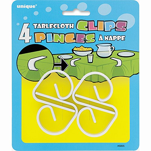 White Plastic Tablecloth Clips, 4ct]()