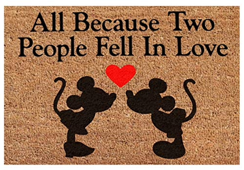 (All Because Two People Fell in Love - Mickey Minnie Mouse Heart - Funny Saying Home Decor Doormat - Housewarming Wedding Anniversary Marry Gift Door Mat Rug)