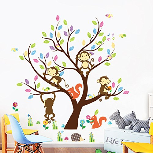 ElecMotive Cartoon Forest Animal Monkey Owls Fox Rabbits Hedgehog Tree Swing Nursery Wall Stickers Wall Murals DIY Posters Vinyl Removable Art Wall Decals for Kids Girls Room Decoration (Monkey)