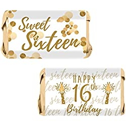 Sweet Sixteen 16th Birthday Party Mini Candy Bar Wrappers, 54 Stickers (White and Gold)