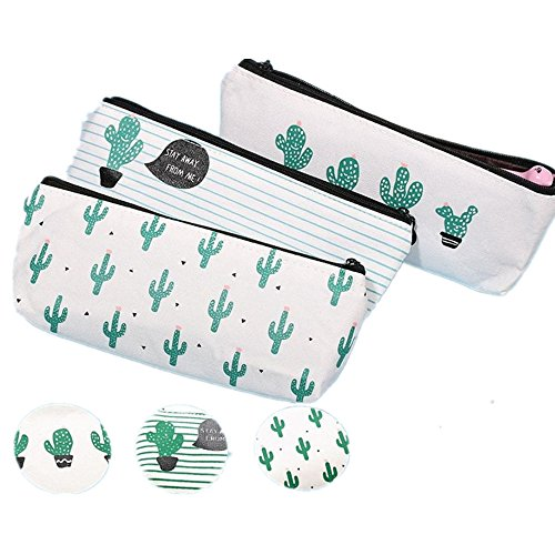 Inverlee Back to School Supplies, Kawaii Cartoon Cactus Kids Pencil Case Box Pen Bag Coin Pouch Makeup Cosmetic Storage Organizer (3Pcs)