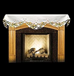 """Emboidered Fireplace Mantel Scarf with White Daisy on White and Cut Work 19"""" x 90"""" by Linens, Art and Things"""