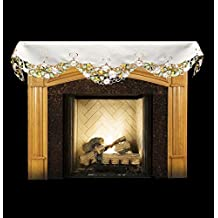 """Emboidered Fireplace Mantel Scarf with White Daisy on White and Cut Work 19"""" x 90"""""""