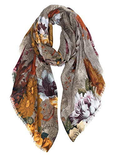 GERINLY Gorgeous Peony Print Shawl Scarf For Women Cozy Wrap (Taupe) -