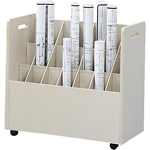 Safco Office Wood Mobile Document Roll File Cabinet 21 Compartment.