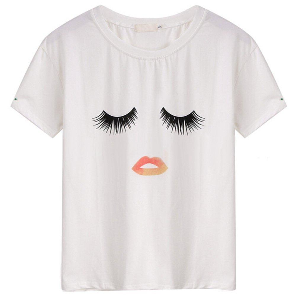HYJM Girl Summer Cute Cartoon Best Friend Printed Short T-shirt (L, Type 1)