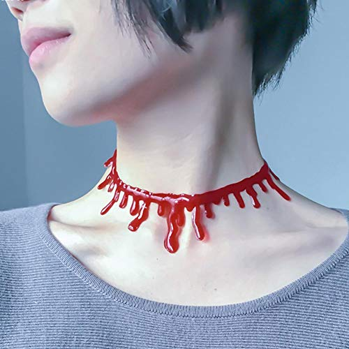 Best Quality - Party DIY Decorations - Halloween Decoration Horror Blood Drip Necklace Fake Blood Vampire Fancy Joker Choker Costume Necklaces Party Accessories G20 - by ABYSTEPS - 1 PCs
