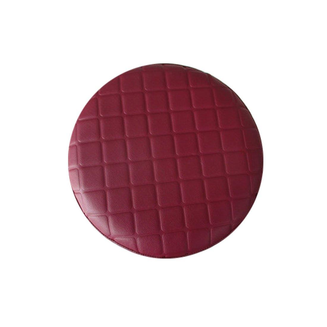 Rosavida 16 Inch Waterproof Round Stool Cover Faux Leather Lattice Round Barstool Seat Covers Red-wine by Rosavida