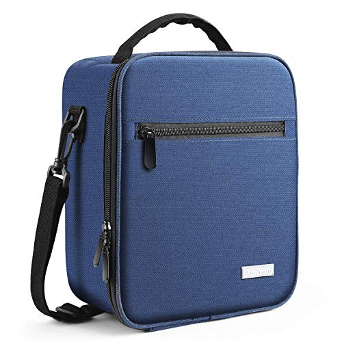 Lunch Bag with Solid Padded Liner,Amersun Spacious Insulated Lunch Box Durable Thermal Lunch Cooler Pack Organizer with Strap for Boys Men Women Girls Adults Sport Picnic,25% Larger,2 Pockets(Blue)