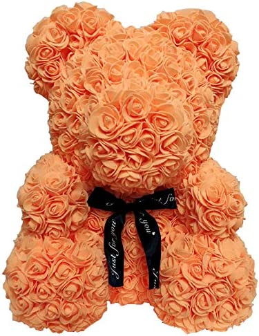 LVYIMAO Miele Teddy Bear Peluche Orso di San Valentino Romantice PE Artificiale Rose Bear Doll Regalo per la Festa Nuziale Creativo Fai da Te San Valentino
