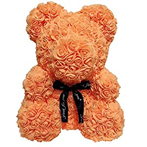 Ruimin 1PC Teddy Bear Rose Bear Artificial Rose Bear Cub Artificial DIY Rose Anniversary Christmas Valentines Gift PE Rose Doll Size Tie (Orange Tie) 22