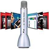 BEE Wireless Karaoke Singing Machine Microphone+Bluetooth Speaker 2in1 Compatible with iOS Android Singing App and Song Recording for Kids Sing Practice, KTV, Home Karaoke, Indoor&Outdoor Party (Silver)