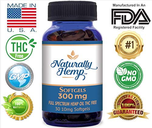 10 Mg 300 Capsules (Naturally Hemp Oil - 300mg - Certified Organic - Relief for Stress, Inflammation, Pain, Sleep, Anxiety, Depression, Nausea - Full Spectrum Extract Safe for Your Whole Family)