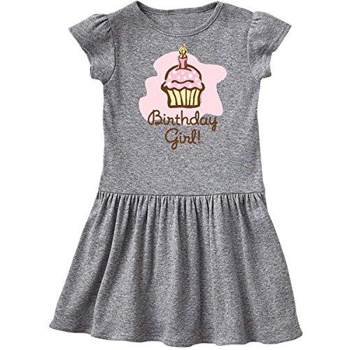 Birthday Dress Girl Cupcake (inktastic - Birthday Girl Cupcake Toddler Dress 4T Heather Grey 37d1)