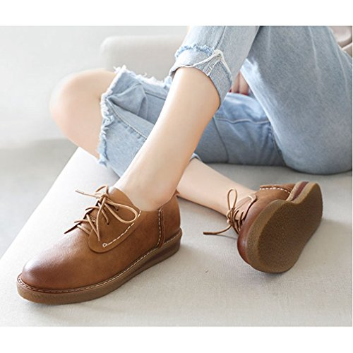 Hoxekle Womens Brown Pure Color Perforated / Vintage Oxford Shoes Flat Met Wingtip Oxford Shoes Brown
