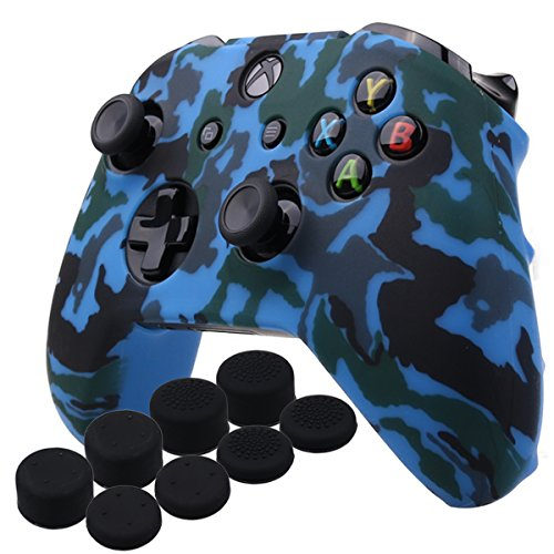 Cheap YoRHa Water Transfer Printing Camouflage Silicone Cover Skin Case for Microsoft Xbox One X & Xbox One S controller x 1(blue) With PRO thumb grips x 8