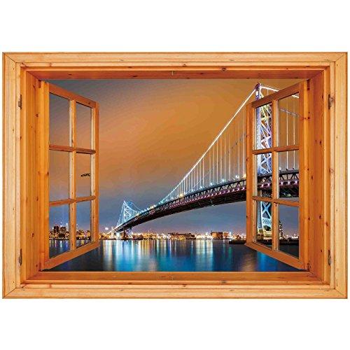 Top trend Depth Illusion Vinyl Wall Decal Sticker [ Apartment Decor,Ben Franklin Bridge and Philadelphia Skyline Viewed