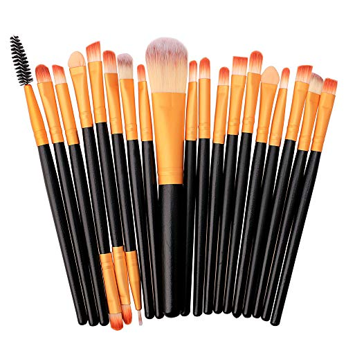 Ourhomer  Clearance Sale 20 Pcs Wooden handle Makeup Brush Set tools Make-up Toiletry Kit Wool Make Up Brush Set (Gold)