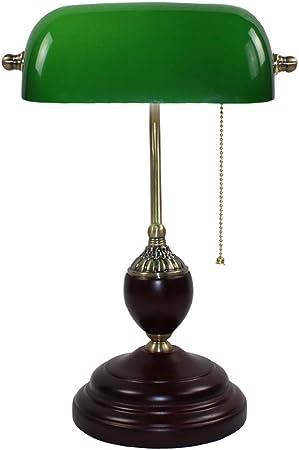 ZSSM Lámpara de Escritorio Simple, Hierro Antiguo, Pantalla
