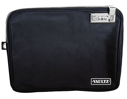 Vaultz Locking Tool Pouch with Tether, Large, 9.5 x 12 Inches, Black (VZ00727)