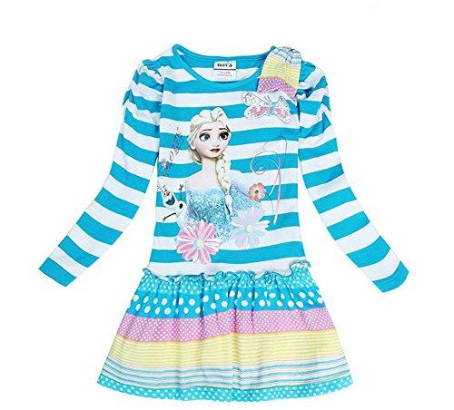 [IGO.]Frozen cartoon baby girls skirt autumn cotton Long sleeve dress NB005_18M-24M (Toddler Frozen Dress)