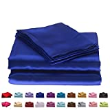 Cloud Fino Hotel Quality Silky Soft Luxurious Satin 4 Pc Sheet Set Wrinkle & Fade Resistant , Hypoallergenic Breathable Durable Comfort Bedding Set !!! King, Royal Blue