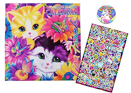 Lisa Frank 2019 Wall Calendar, Over 40 Stickers, and Unicorn Calendar Magnet Hanger