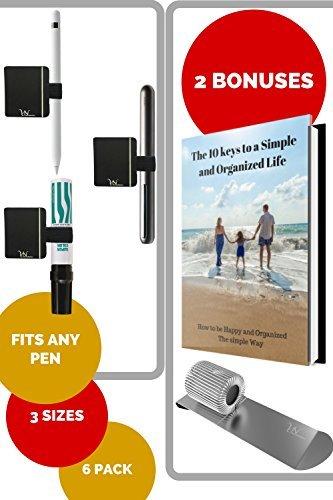 Pen Loop Holders for Notebook - 6 Elastic Adhesive Pen & Stylus Holders for Ipad , Clipboard , Planner , Calendar & Journals like Leuchtturm , Rhodia & Levenger . Bonus : Pen Holder Clip & Ebook (6 Stylus)