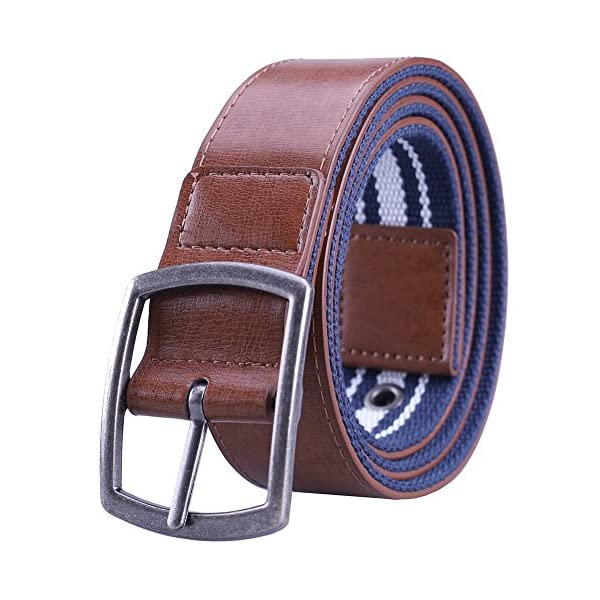 Earnda Mens Black Leather Dress Belt Canvas Fashion Designer Strap