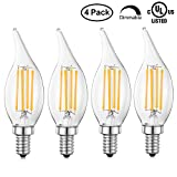 TIMI Lighting LED Filament Bulb Dimmable, Warm White 2700K LED Chandelier Bulb, 40 Watts Equivalent LED Lamp Bulb 350 Lumens, E12 Candelabra Bulbs, Led Flame Light UL-Listed, 4 Pack