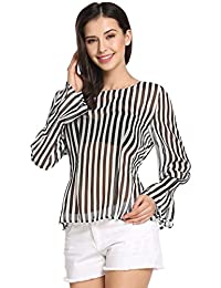 Meaneor Women's O Neck Long Sleeve Casual Chiffon Blouse Tops T-shirts