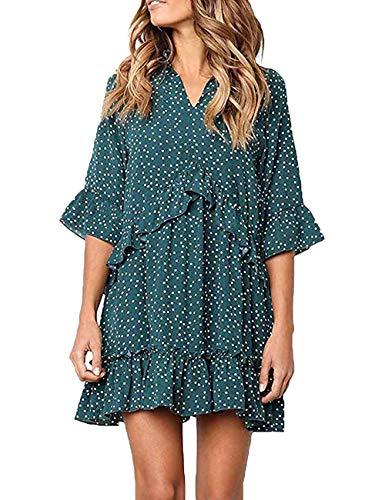 Besshopie Women's Polka Dot Dresses V Neck Half Sleeve Causal Swing Ruffle Hem Mini Dress Green