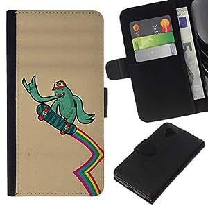 // PHONE CASE GIFT // Moda Estuche Funda de Cuero Billetera Tarjeta de crédito dinero bolsa Cubierta de proteccion Caso LG Nexus 5 D820 D821 / Funny Surfer Dude /