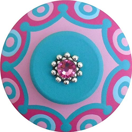 Hand Painted Jeweled Turquoise Hot Pink Scallop Dots Decorative Dresser Furnitue Kids Childrens Nursery Room Art Home Decor Wood Drawer Knobs Pulls (Polka Pink Dots Knob)