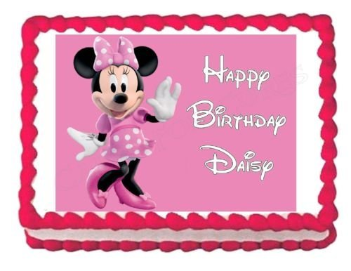 MINNIE MOUSE party decoration edible cake image cake topper]()