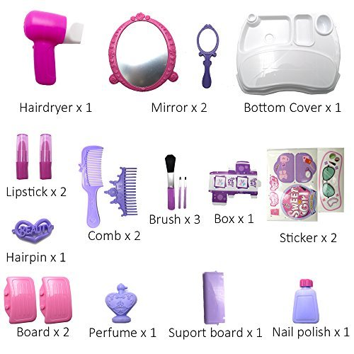 21Pcs Pretend Makeup Kit for Girls Cosmetic Pretend Play Dress-up Beauty Salon Toy Set with Mirror Best Gift for Kids by Bonniesun (Image #2)